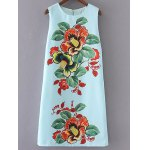 Stylish Round Neck Floral Print Sleeveless Dress For Women