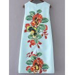 cheap Stylish Round Neck Floral Print Sleeveless Dress For Women