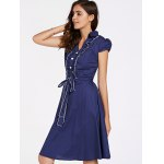 Stylish Short Sleeve V-Neck Ruffled Belt-Tie Women's Dress deal
