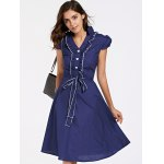 cheap Stylish Short Sleeve V-Neck Ruffled Belt-Tie Women's Dress