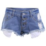 Casual Bleach Wash Frayed Denim Shorts For Women