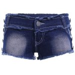 cheap Casual Butterfly Squins Frayed Denim Shorts For Women