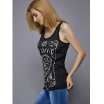 Casual Scoop Neck Letter Print Disk Pattern Women's Tank Top deal