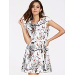 cheap Belted Animal Printed Mini Flare Dress