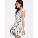 Attractive Jewel Neck Fawn Pattern Cap Sleeves Belted Dress For Women deal