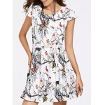 Attractive Jewel Neck Fawn Pattern Cap Sleeves Belted Dress For Women