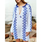 Stylish Round Neck Long Sleeve Embroidery Dress For Women