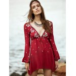Bohemian Embroidered Long Sleeve Women's Tunic Dress for sale