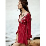 best Bohemian Embroidered Long Sleeve Women's Tunic Dress