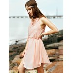 Stylish Round Collar Sleeveless Lace Splice Women's Dress photo
