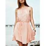 Stylish Round Collar Sleeveless Lace Splice Women's Dress