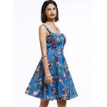 cheap Vintage Sleeveless Cartoon Pattern Print Women's Pleated Dress