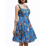 Vintage Sleeveless Cartoon Pattern Print Women's Pleated Dress