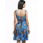 Vintage Sleeveless Cartoon Pattern Print Women's Pleated Dress for sale