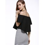 best Stylish Off The Shoulder Pure Color Women's Chiffon Crop Top