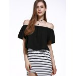 Stylish Off The Shoulder Pure Color Women's Chiffon Crop Top deal