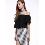 Stylish Off The Shoulder Pure Color Women's Chiffon Crop Top for sale