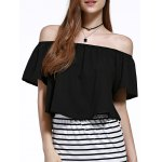 Stylish Off The Shoulder Pure Color Women's Chiffon Crop Top