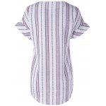 cheap Fashionable Round Neck Short Sleeve Striped Blouse