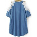Buy Stylish Round Neck Cold Shoulder Lacing Spliced Dress Women M ICE BLUE