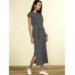 Charming Striped Cap Sleeve Waist Tied Slit Maxi Dress For Women deal