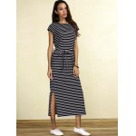 cheap Charming Striped Cap Sleeve Waist Tied Slit Maxi Dress For Women