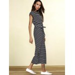 Charming Striped Cap Sleeve Waist Tied Slit Maxi Dress For Women for sale