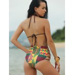 Ethnic Print High Waist African Print Bathing Suit for sale