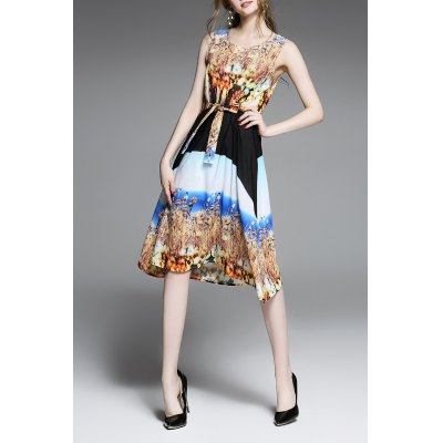 Tie Embellished Slimming Print Dress