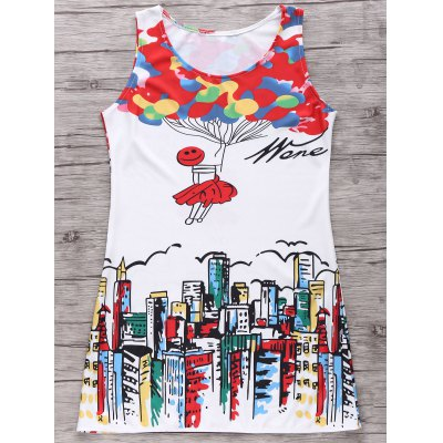Trendy Digital Print Women's Tank Dress