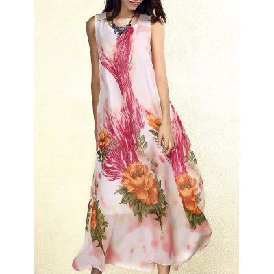 Sleeveless Floral Print Loose-Fitting Chiffon Women's Dress