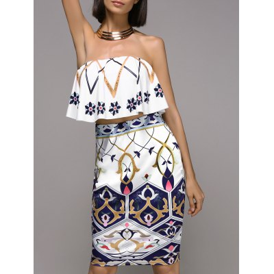 Trendy Strapless Frilled Top and High Waist Skirt Set For Women