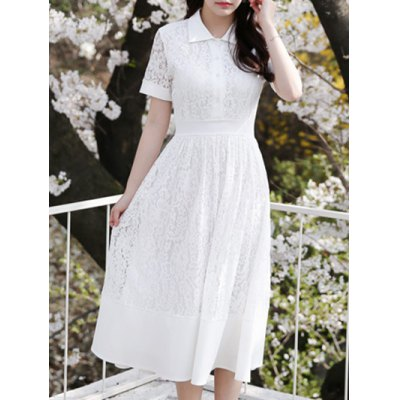 Polo Collar Floral Pattern Lace Dress