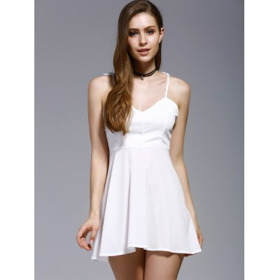 Stylish Spaghetti Straps Wing Patchwork Fit and Flare Dress For Women