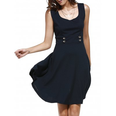 Retro Style Square Neck Sleeveless Button Embellished Solid Color Dress For Women