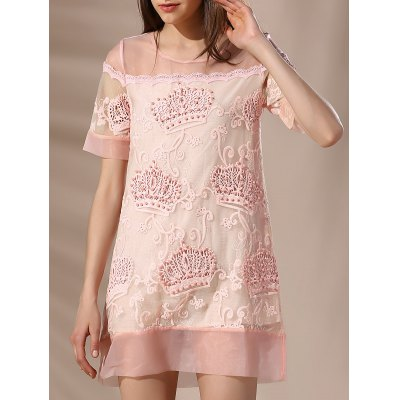 Round Neck Voile Spliced Embroidery Beaded Women's Dress