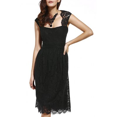 Strappy Lace Hollow Out Dress For Women
