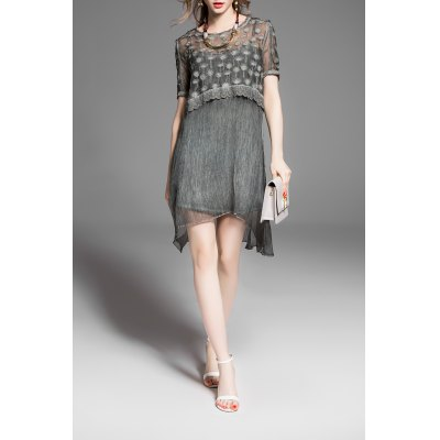 Camisole Dress and Embroidery Dress Twinset