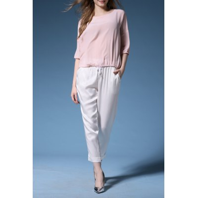 Solid Color Tee and Drawstring Pants Twinset