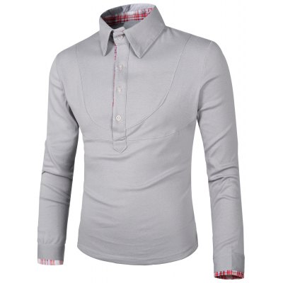 Turn-Down Collar Splicing Design Checked Long Sleeve Polo T-Shirt For Men