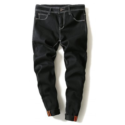 Contrast Suture Narrow Feet Denim Pants