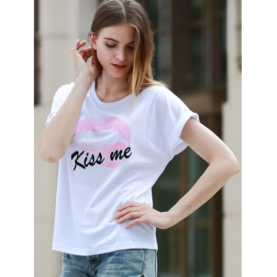 Simple Style Kiss Me Letter Print Short Sleeve Womens T-ShirtTees<br>Simple Style Kiss Me Letter Print Short Sleeve Womens T-Shirt<br><br>Material: Cotton Blends<br>Clothing Length: Long<br>Sleeve Length: Short<br>Collar: Round Neck<br>Style: Casual<br>Season: Summer<br>Pattern Type: Letter<br>Weight: 0.370kg<br>Package Contents: 1 x T-Shirt