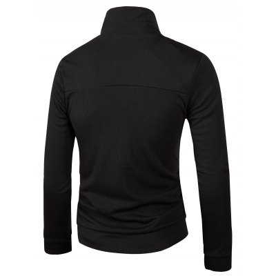 Stand Collar Solid Color Slimming Zip-Up Jacket For Men