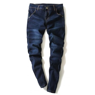Modish Bleach Wash Narrow Feet Men's Jeans