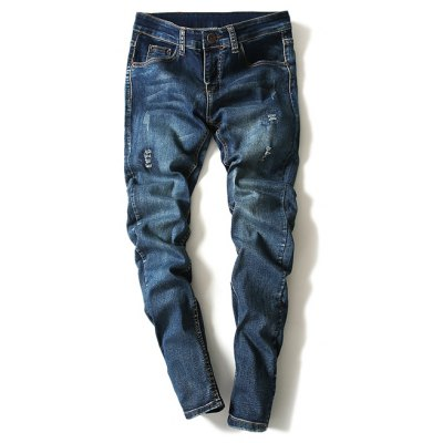 Scratch Design Narrow Feet Denim Pants