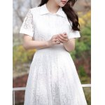 Sweet Polo Collar Floral Pattern Women's Lace Dress deal
