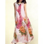Bohemian Sleeveless Floral Print Loose-Fitting Chiffon Women's Dress