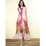 Bohemian Sleeveless Floral Print Loose-Fitting Chiffon Women's Dress for sale
