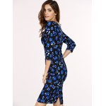 Chic Women's Square Neck 3/4 Sleeve Blue Flower Print Dress deal