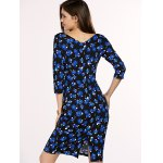 Chic Women's Square Neck 3/4 Sleeve Blue Flower Print Dress for sale